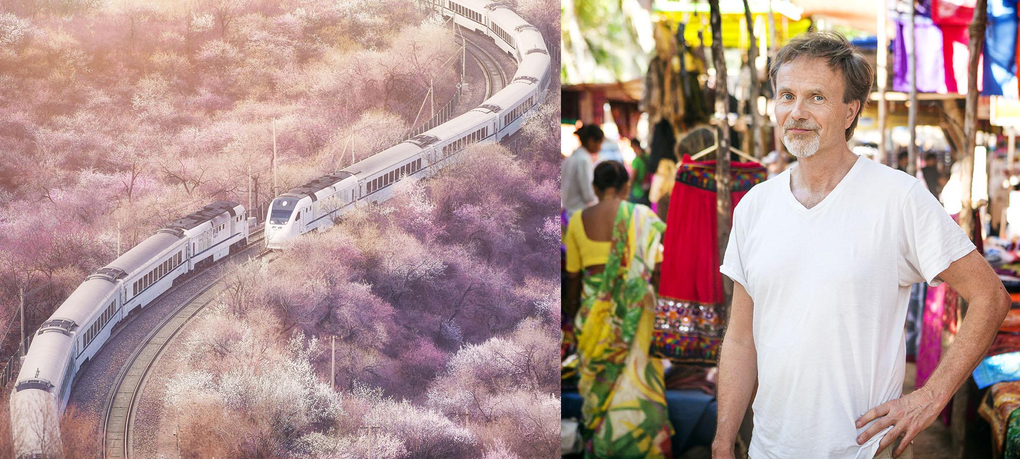 Snabb tåg som åker genom Japan + bild på man på indisk marknad
